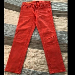 J. Crew - tangerine color toothpick ankle jeans